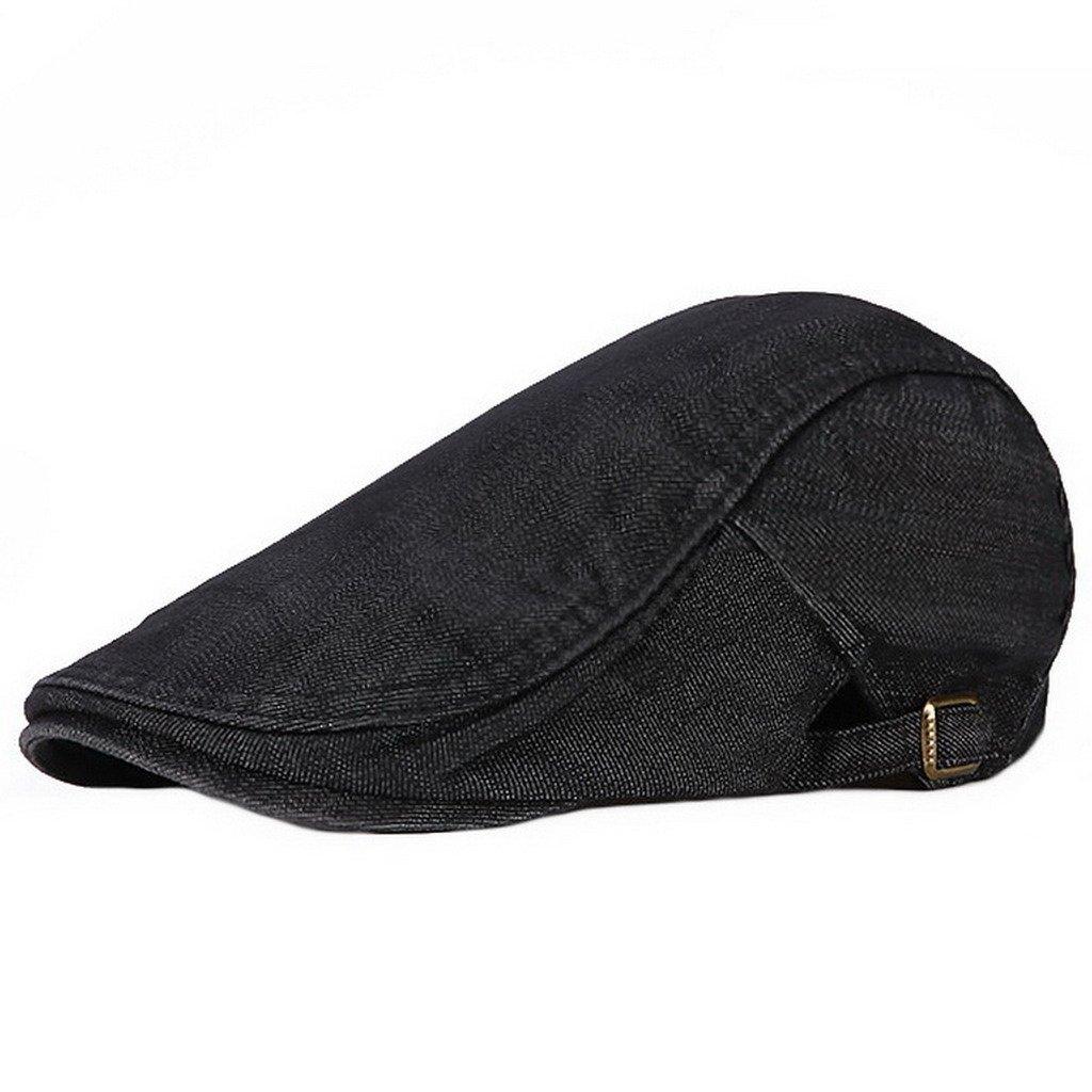 Ukerdo Solid Denim Duckbill Flat Cap Cabbie Newsboy Fitted Hats for Men Cap-189