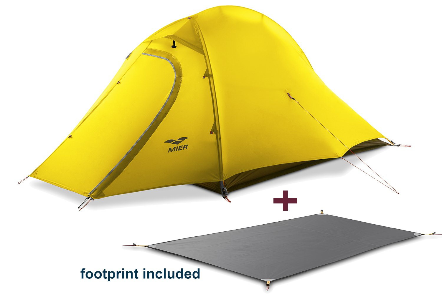 MIER 2 Person Camping Tent with Footprint Waterproof Backpacking Tent Lightweight /& Quick Setup