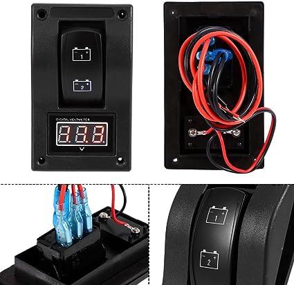 Keenso 12v Voltmeter Dc Batterie Test Panel Wippschalter Panel Led Hintergrundbeleuchtung Wippschalter Voltmeter Auto