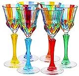 CALICE ADAGIO Glasses Liquor Crystal Hand Painted Traditional Technique Colors Venice-Multi-colored