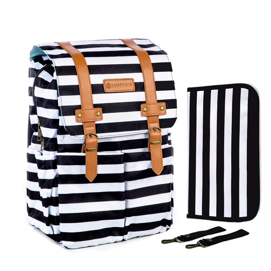SavvyMami Striped Diaper Bag Backpack for Mom - Bags for Stylish Moms – Large Black and White Striped Backpack Diaper Bag with Changing Pad and Wipes Case and Stroller Straps for Women Baby Bag Baby Bundle