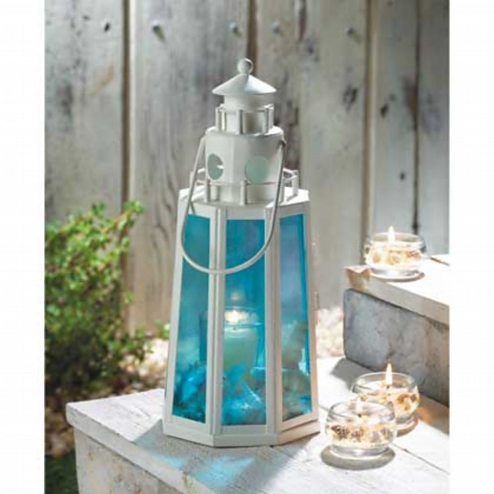 OCEAN BLUE LIGHTHOUSE LAMP CANDLE LANTERN