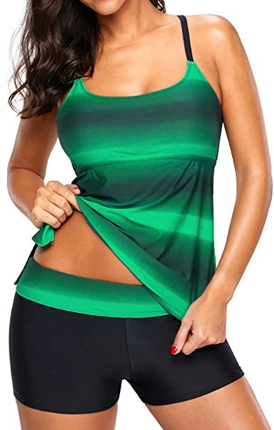 Leslady Womens Sporty Tankini Gradient Swimwear with Boyshort 2 Pcs Bikinis Swimsuit
