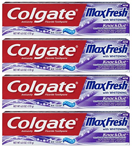 Colgate Max Fresh Toothpaste - KnockOut - With Odor Neutralizing Technology - Net Wt. 6 OZ (170 g) Per Tube - Pack of 4 Tubes Colgate Max Fresh Toothpaste