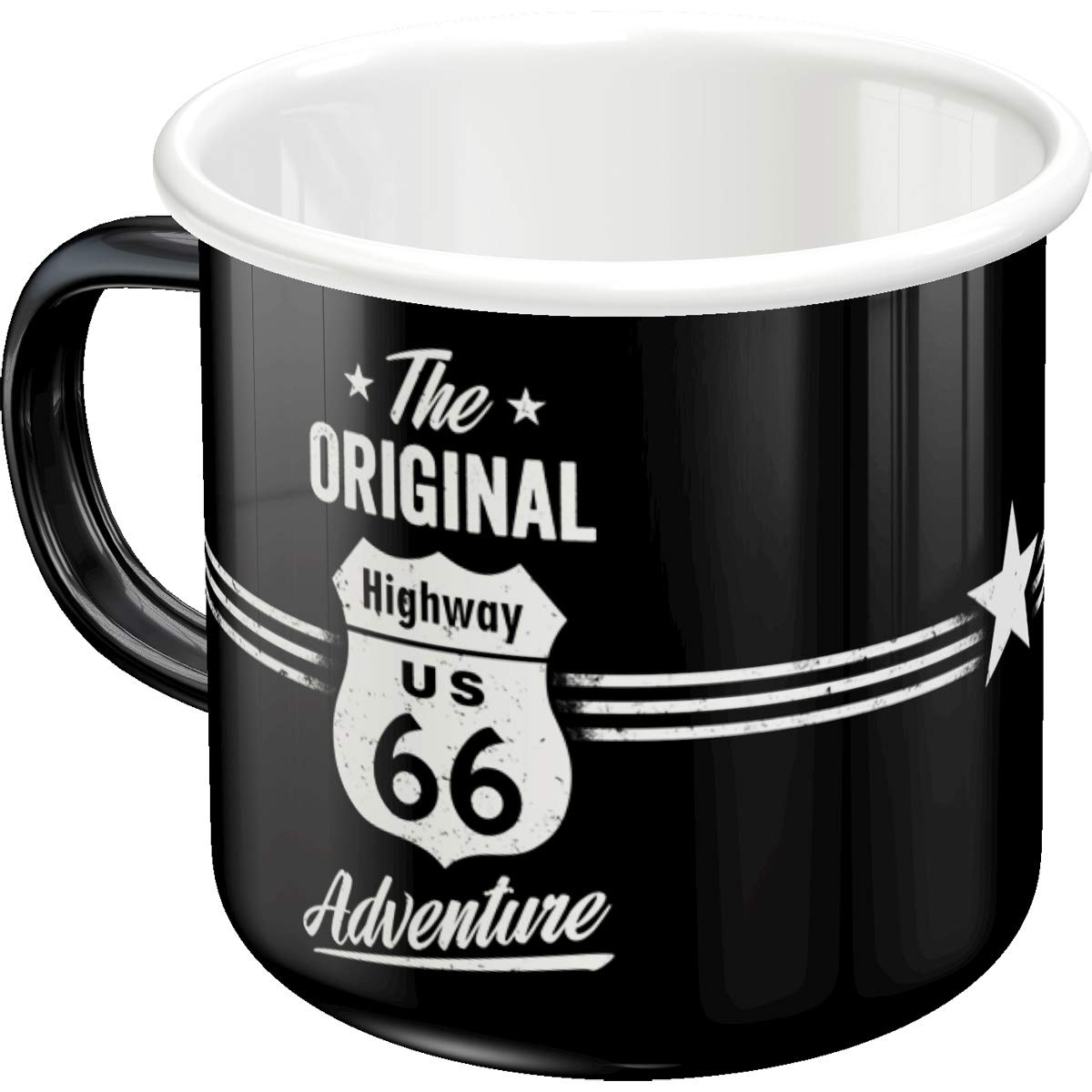 Nostalgic-Art 43204 Highway 66 The Original Adventure | Rétro Tasse émaillée | Vintage Cadeau Tasse | Outdoor Harnais, Multicolore, 8 x 8 x 8 cm