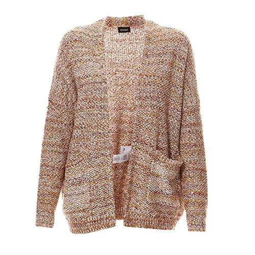 KOOKAI Damen Cardigan Baumwollmix Jacke Meliert, Größe: T3, Farbe: Braun