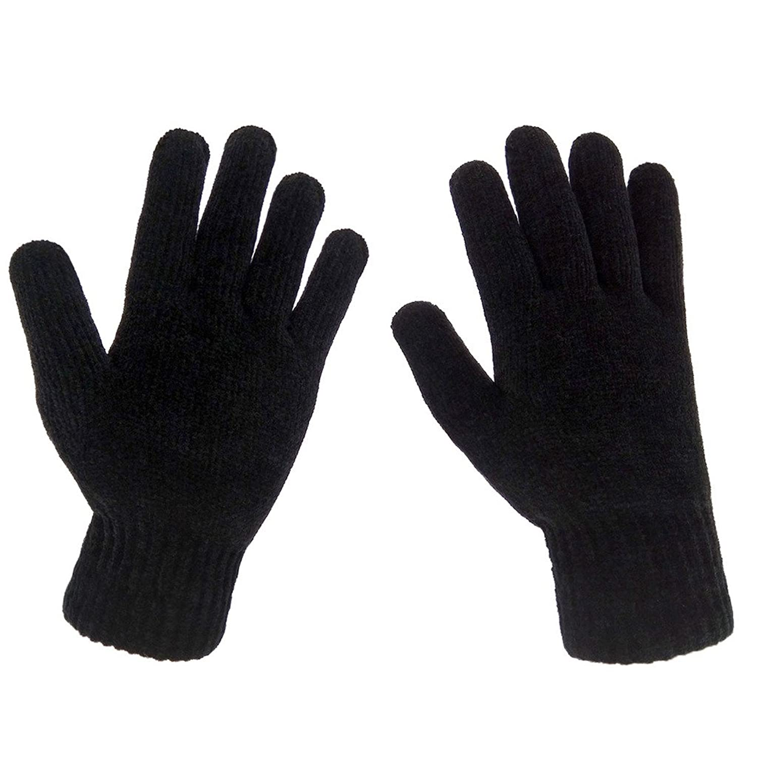 Black gloves mens - Lethmik Mens Winter Thick Black Knit Gloves With Warm Wool Lining At Amazon Men S Clothing Store