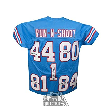 1e7091117be Image Unavailable. Image not available for. Color: Houston Oilers  Autographed Run-N-Shoot Custom Blue Football Jersey - LOA - JSA