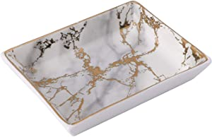 BESTSELLER2888 Ceramic Ring Jewelry Holder Decor Dish Organizer Jewelry Plate Jewelry Tray (Marble-Light Grey) (Gold - S Size, Small Size)