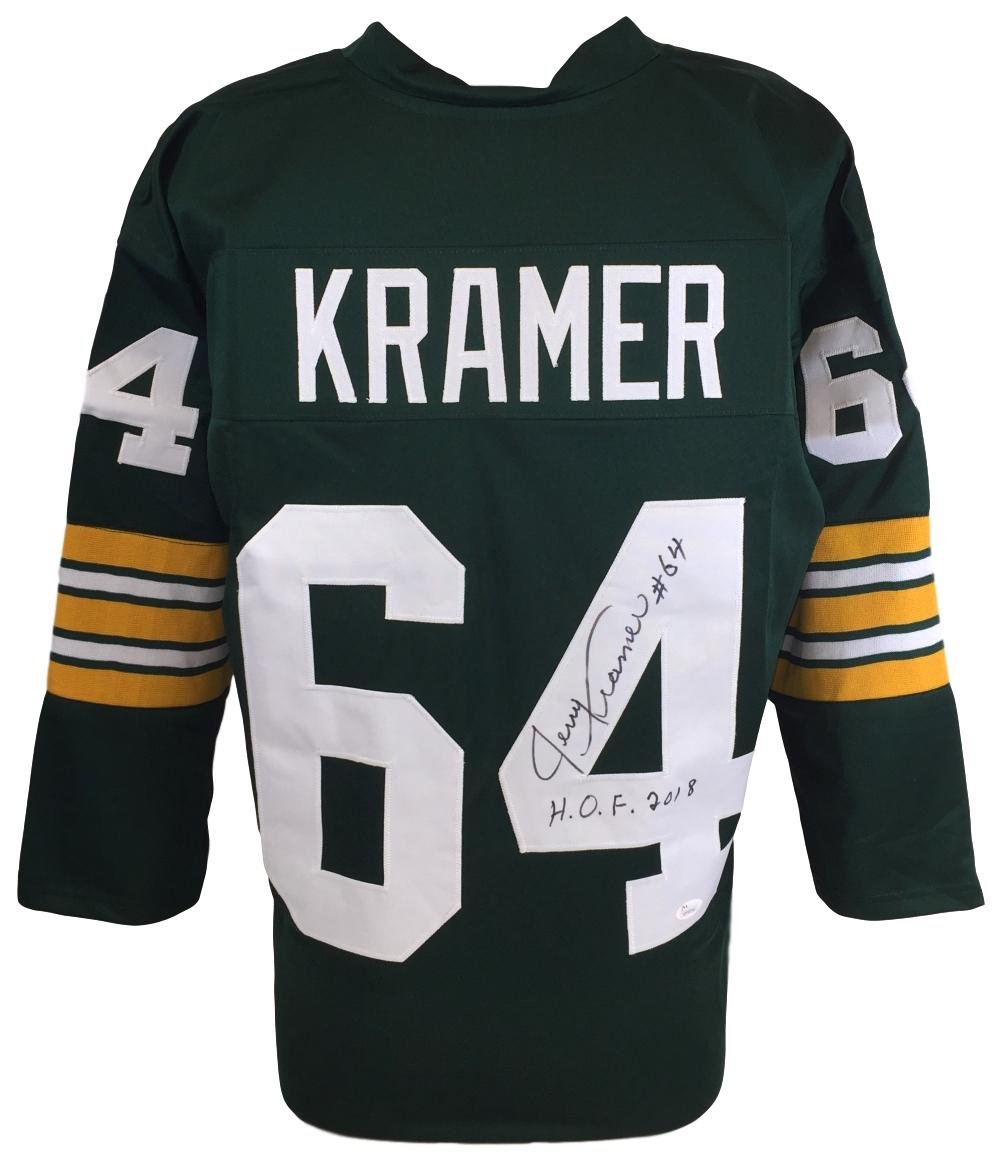 Jerry Kramer Signed Custom Green Pro-Style Football Jersey HOF 2018...