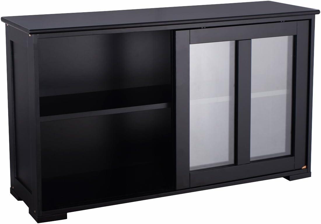 Goplus aparador de Cocina, Mueble de Almacenamiento con Puerta corredera de Cristal Templado y 2 estantes de MDF, 106,7 x 33 x 62,5 cm, Color Negro: Amazon.es: Hogar