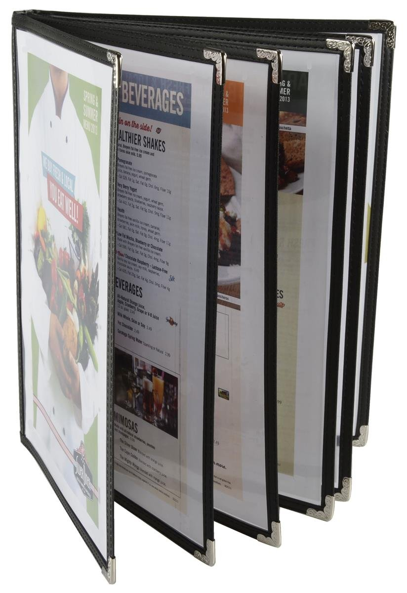 Set of 10, 6-Page Restaurant Menu Covers for 8.5'' x 11'' Sheets, Black Synthetic Leather Trim with Metal Corners by Displays2go (Image #1)