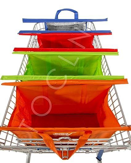 tocln: carro de la compra reutilizable bolsas set de 4, con ...