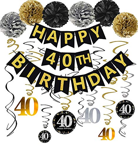 Gold Glittery Happy 40th Birthday Banner,Poms,Sparkling 40 Hanging Swirls Kit for 40th Birthday Party 40th Anniversary Decorations]()