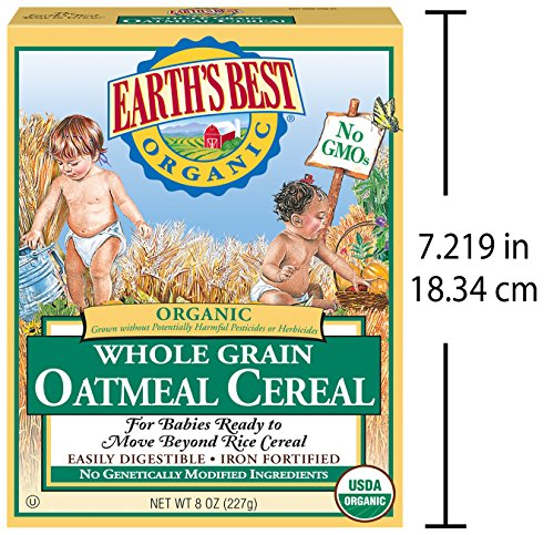 61l2iqu6sWL - Earth's Best Organic Infant Cereal, Whole Grain Oatmeal, 8 Oz. Box (Pack Of 12)