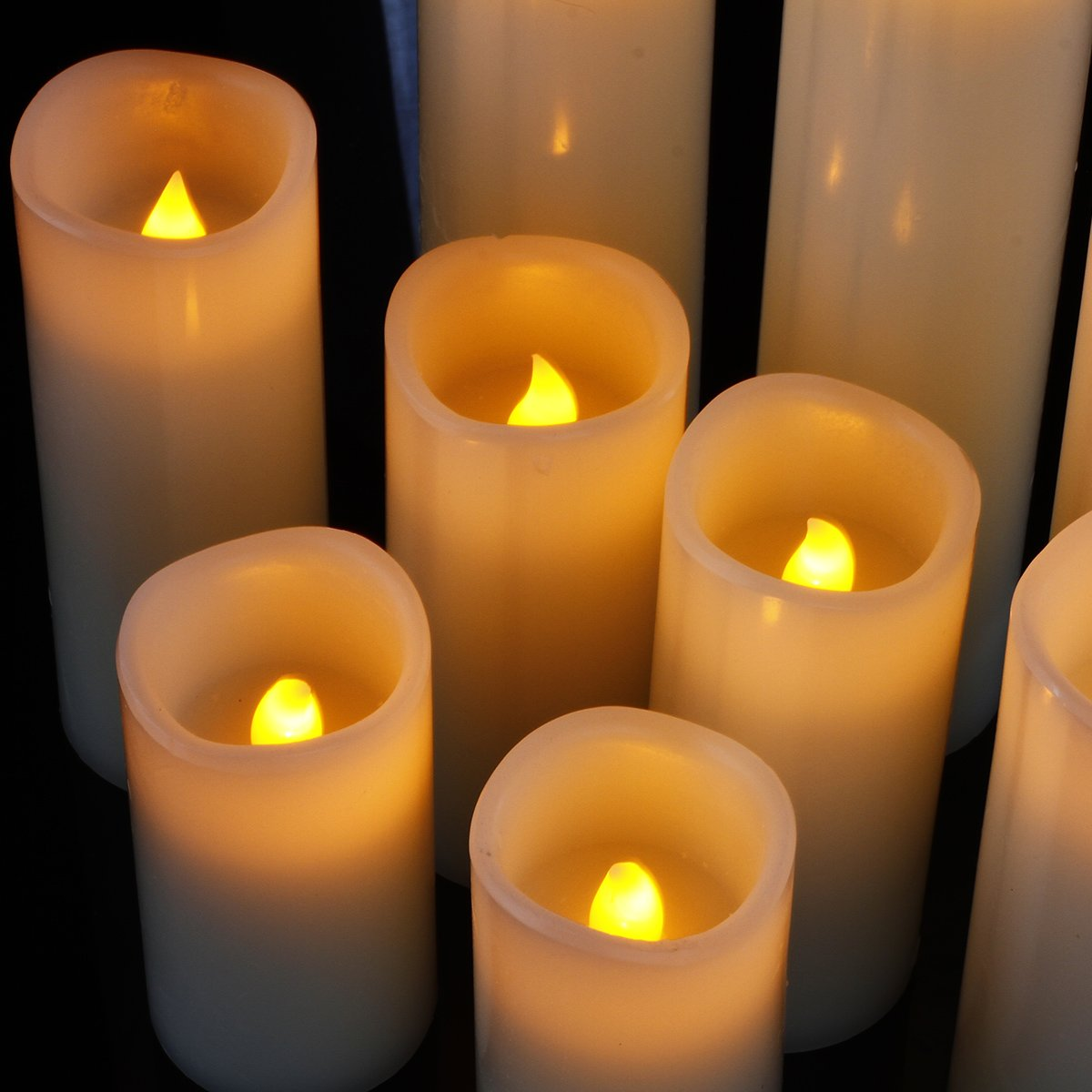 Flameless Candles, Led Candles Set of 9(H 4'' 5'' 6'' 7'' 8'' 9'' xD 2.2'') Ivory Real Wax Battery Candles With Remote Timer by (Batteries not included) by comenzar (Image #7)