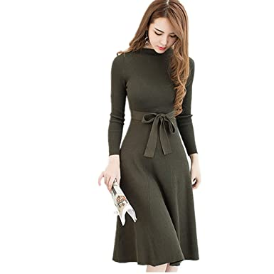e313e9c7ffba Crissiste Dresses 2018 Black Sexy with Sashes Knitted Dress Women Slim  Casual Autumn Winter Long Sleeve High Waist at Amazon Women s Clothing  store