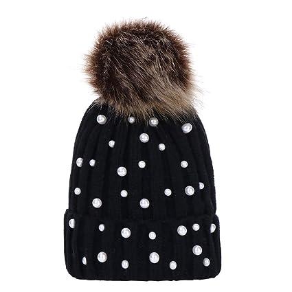 5fb7aa7b97a Amazon.com  🎈LIULIULIU🎈Baby Winter Cute Fur Pom Pom Hairball Beads Knit  Hat Beanie Warm Cap (Black)  Garden   Outdoor