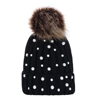 e290e4884ce Saingace Newborn Baby Boys Girls Winter Faux Pearl Beads Knitted Hat Beanie  Hairball Warm Cap Headwear