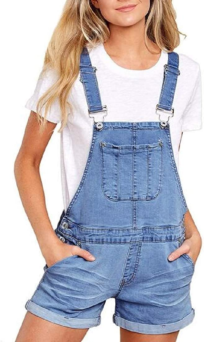 ARTFFEL Womens Loose Fit Plus Size Casual with Pockets Denim Overall Shortalls