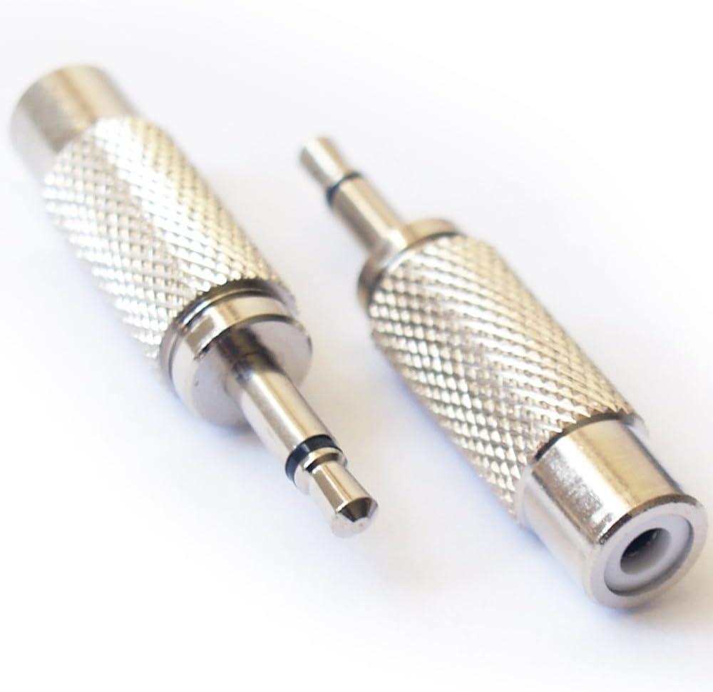 "2-Adapters RCA Female Jack to 3.5mm 1//8/"" Mono Male Plug Audio// Video Converter"