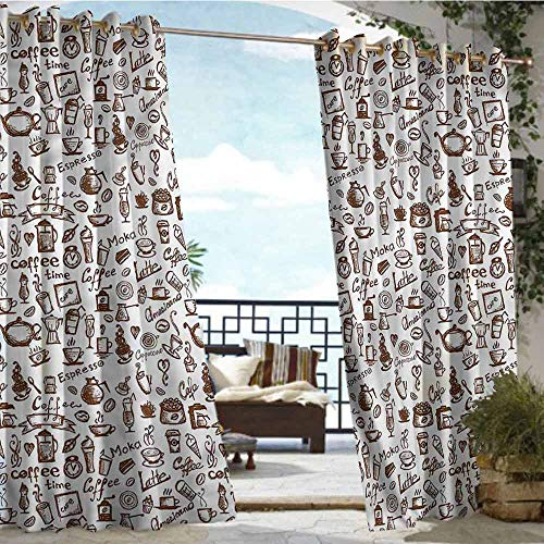 Indoor/Outdoor Single Panel Print Window Curtain Coffee,Coffee Time Americano,W72 xL108 Thermal Insulated Water Repellent Drape for Balcony