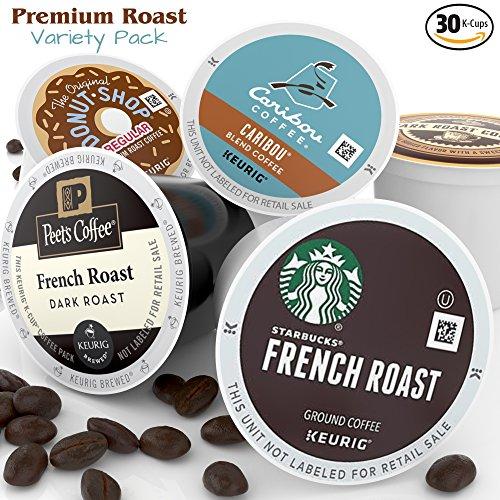 K-Cup Coffee Variety Pack - 30ct Premium Bold Roast Sampler - 6 Single Serve Pod Assortment of Peets - Starbucks - Caribou - Balanced Bean Coffee Company - Original Donut Shop French & Italian Roast (Keurig Coffee Packets compare prices)