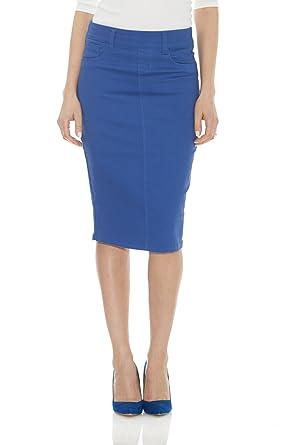 d7a57d685 Esteez Jean Skirt for Women Knee Length Brooklyn Cornflower Blue 0