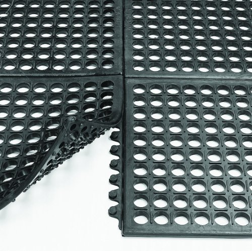 Wearwell Industrial Worksafe Mat - Wearwell Nitrile Rubber 472 WorkSafe Anti-Fatigue Modular Mat, for Wet Areas, 3' Width x 3' Length x 1/2 Thickness, Black