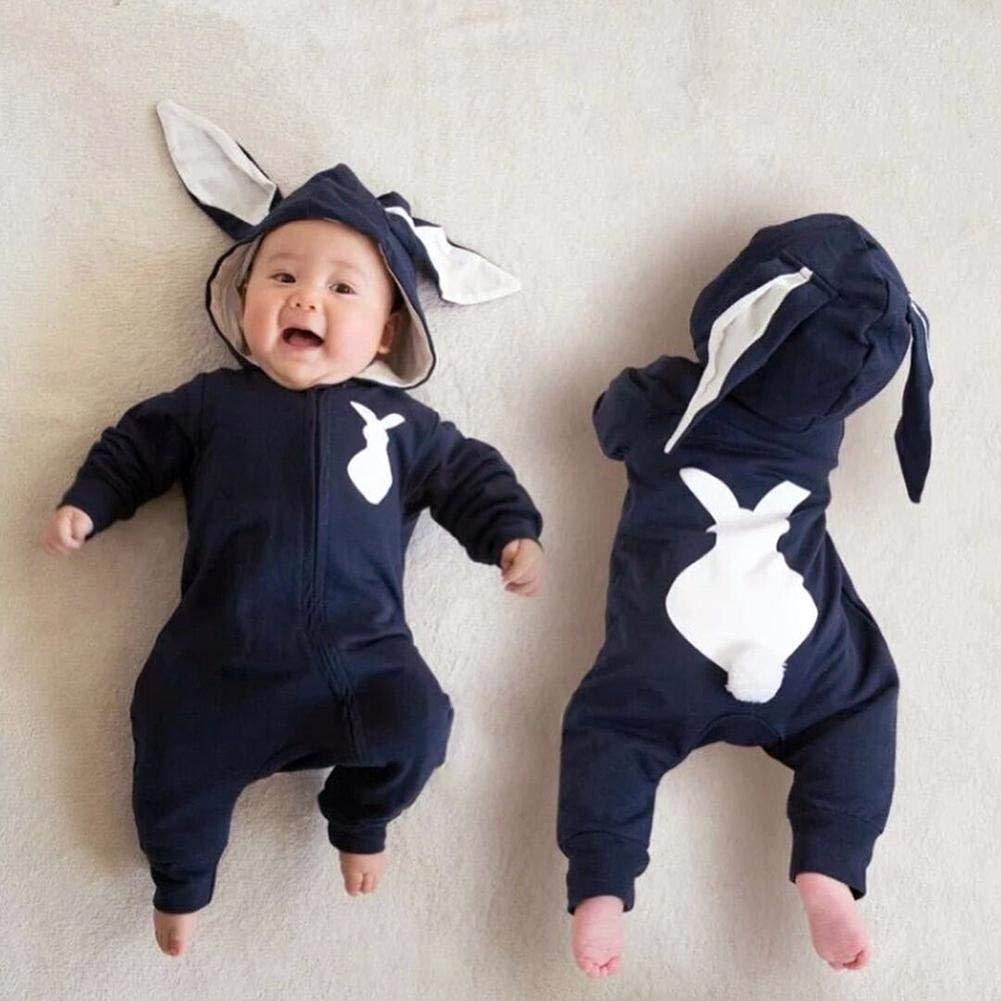 Amazingdeal Newborn Baby Boys Girls Cute Rabbit Ear Rompers Cotton Warm Zipper Jumpsuit