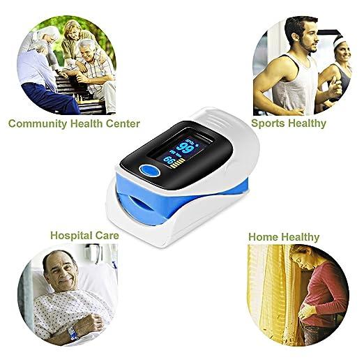Oxímetro de dedo OLED medir los niveles de oxígeno en sangre SpO2 y pulso: Amazon.es: Salud y cuidado personal