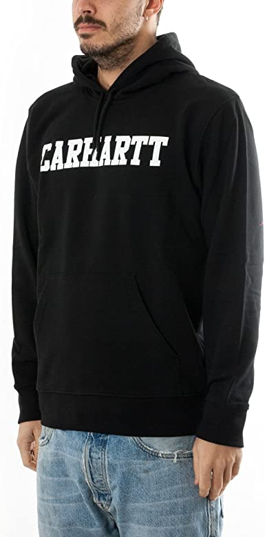 Carhartt Hooded College Sweat Sudadera, Negro (Black/White), L ...