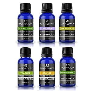 Radha Beauty Aromatherapy Top 6 Essential Oils (Lavender, Tea Tree, Eucalyptus, Lemongrass, Orange, Peppermint) - 100% Natural Basic Gift Set for Aromatherapy, Diffusers, Soap, DIY Skincare