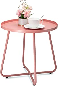 danpinera Outdoor Side Tables, Weather Resistant Steel Patio Side Table, Small Round Outdoor End Table Metal Side Table for Patio Yard Balcony Garden Bedside Pink