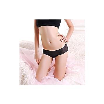 Ropa interior femenina encaje transparente cintura baja triángulo de la comodidad del algodón de la entrepierna