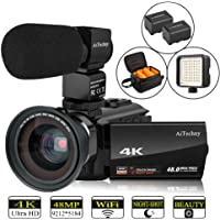 """Video Camera, 4K Camcorder AiTechny Digital WiFi Camera 48MP 16X Digital Zoom Recorder WiFi Camera 3.0"""" Touch Screen Night Vision with Microphone, Wide Angle Lens, LED Video Light, 2 Batteries, DV Bag"""