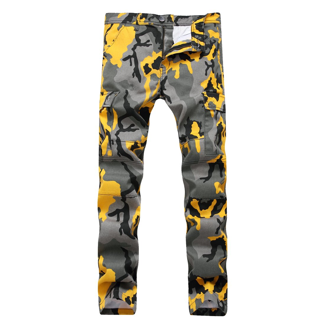 SHOWNO-Men Zipper Casual Pockets Camouflage Mid Waist Jogging Washed Cargo Pants