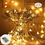 Star String Lights,10M 80 LED Stars Fairy Lights(Warm White), Battery Operated LED Star String Lights, Decorative Lighting,Sunnest String Lights,for Christmas Wedding Birthday Holiday Party Hallowee