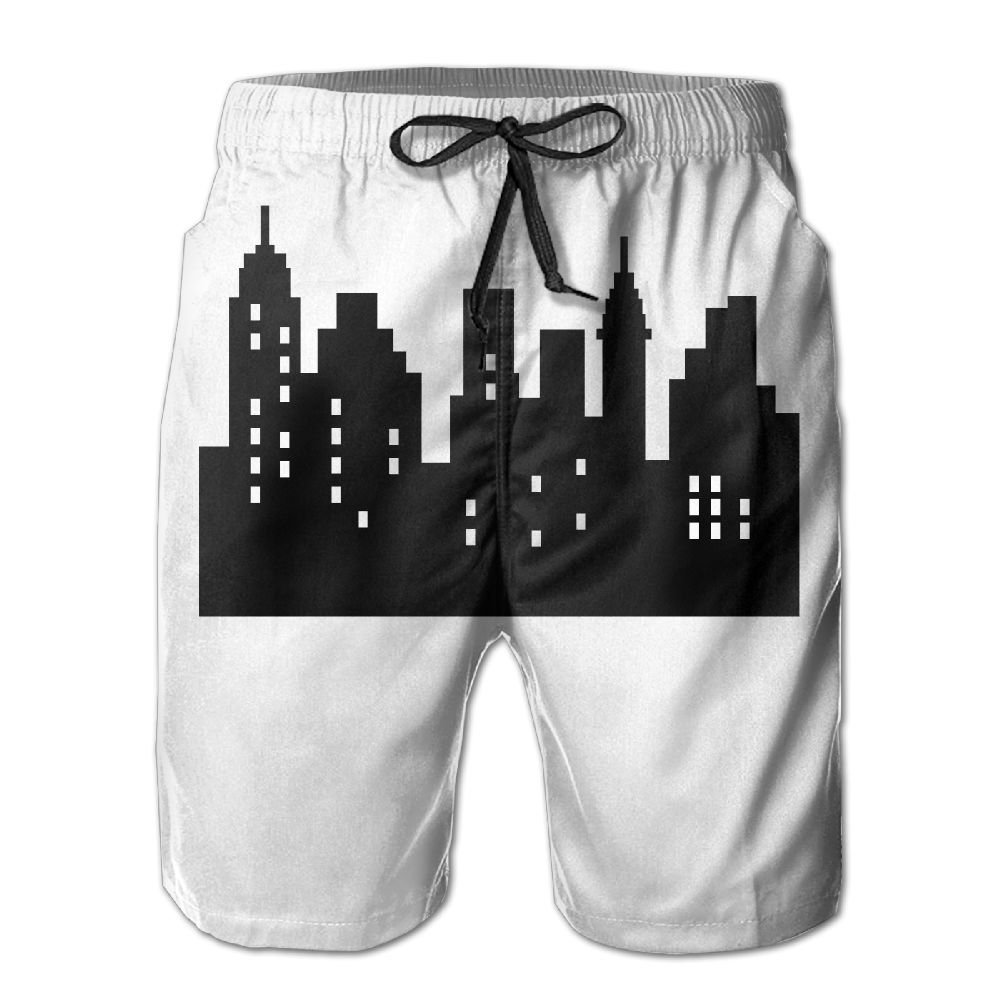GYang Mens Beach Shorts New York Skylines Summer Printed Swim Breathable Quick-Drying Shorts Swim Trunks Boardshorts