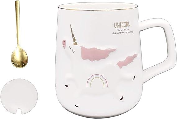 DecoLife - Taza de café con diseño de unicornio (12 oz), cerámica blanca con estampado de dibujos animados en relieve y letras doradas, regalo perfecto para cumpleaños y festivales, rosa y azul: