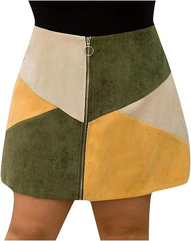 Sylar Faldas Cortas Mujer Tallas Grandes Minifalda Mujer Cintura ...
