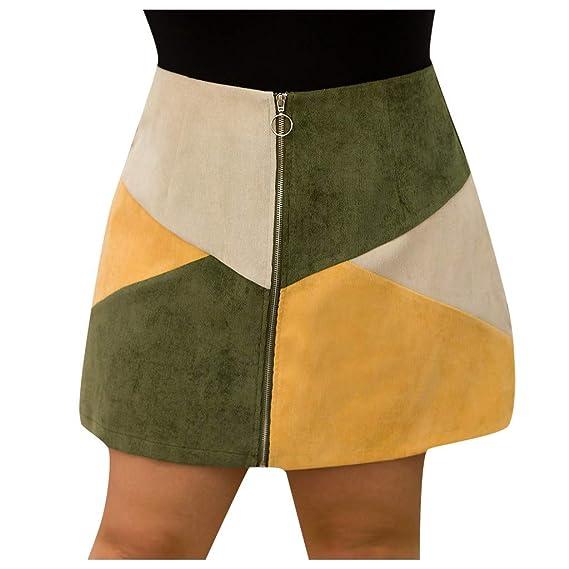 QIjinlok Falda Corta Talla Grande Mini Faldas Gruesas de Retazos ...