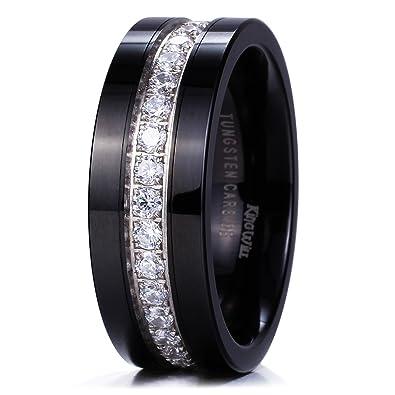 Amazon.com: King Will GEM Mens 8mm Black Polished Finish Tungsten ...