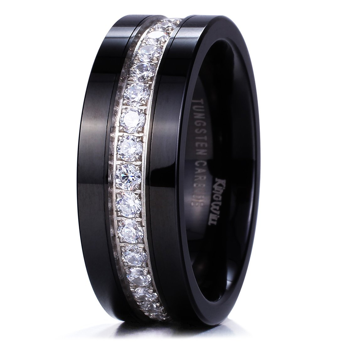 King Will GEM Mens 8mm Black Polished Finish Tungsten Carbide Ring Cubic Zircon Stones Flat Style Wedding Band(10.5)