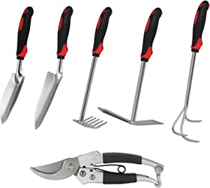 Maysion Garden tools set, 6 PCS Cast-iron Heavy Duty Gardening tools, with Non-Slip Rubber Handle Hand, Durable and Delicate Gardening Gifts