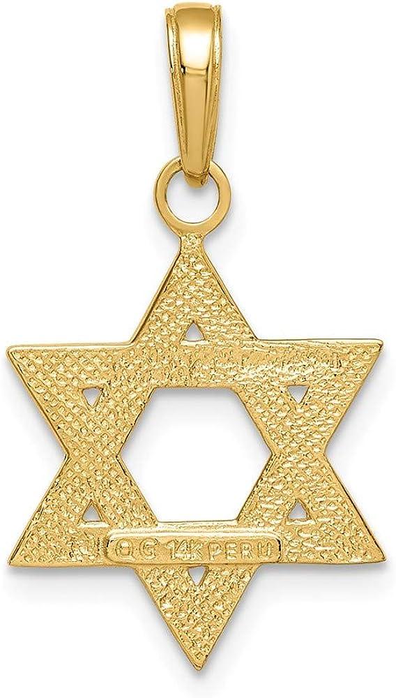 14K Yellow Gold Solid Satin Star Of David Pendant M1594