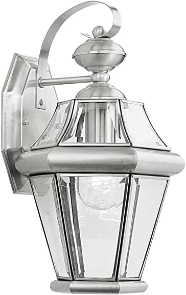 Livex Lighting 2161-91 Outdoor Wall Lantern with Clear Beveled Glass Shades, Brushed Nickel