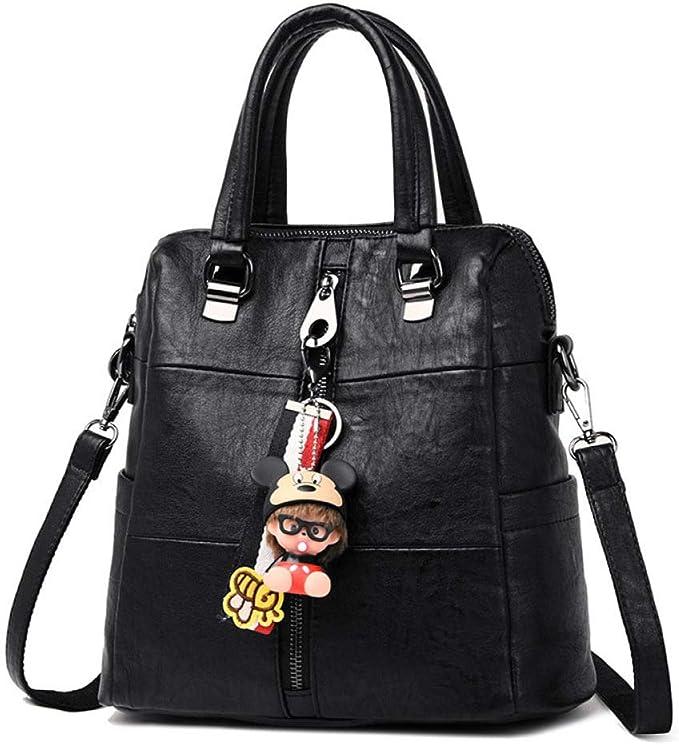 CHQ Womens PU Leather Backpack Retro Female Shoulder Bag Ladies Travel Bag Girls Bag Black 28 * 13 * 28CM: Amazon.es: Equipaje