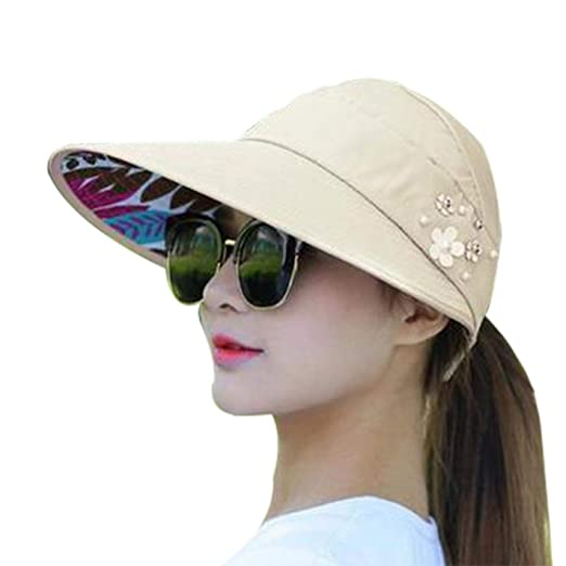 245f8664ca3 New Summer Beach Women Sun Hats UV Protection Pearl Packable Sun Visor Hat  with Big Heads