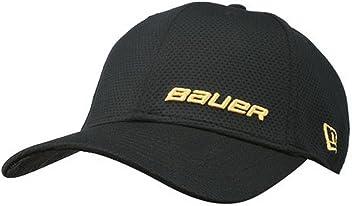 b2296a48 Bauer New Era 39THIRTY Supreme Hockey Hat Black/Yellow Logos (S/M)